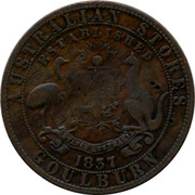 Australia 1 Penny Davies Alexander (Goulburn) ND KM# Tn48 AUSTRALIAN STORES ESTABLISHED 1837 GOULBURN coin reverse