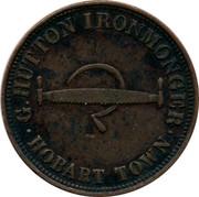 Australia 1 Penny G. Hutton (Hobart town) ND KM# Tn131 G. HUTTON IRONMONGER HOBART TOWN coin obverse