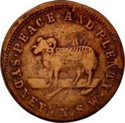 Australia 1 Penny ND KM# Tn286.1 Unnamed Token Issues PEACE AND PLENTY SYDNEY N.S.W. coin obverse