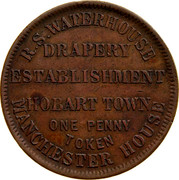 Australia 1 Penny ND KM# Tn265 Private Token issues R.S. WATERHOUSE DRAPERY ESTABLISHMENT HOBART TOWN MANCHESTER HOUSE coin obverse