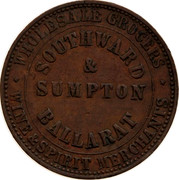 Australia 1 Penny ND KM# Tn212 Private Token issues INNER: SOUTHWARD & SUMPTON BALLARAT OUTER: WHOLESALE GROCER coin obverse