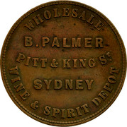 Australia 1 Penny ND KM# Tn187 Private Token issues WHOLESALE WINE & SPIRIT coin obverse