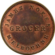Australia 1 Penny ND KM# Tn186 Private Token issues IN COMMEMORATION OF THE LANDING OF SIR CHARLES HOTHAM 22D JUNE 1854 coin obverse