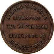 Australia 1 Penny ND KM# Tn182.2 Private Token issues ALFRED NICHOLAS LIVERPOOL TEA WAREHOUSE LIVERPOOL ST. HOBART TOWN coin obverse