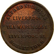 Australia 1 Penny ND KM# Tn182.1 Private Token issues ALFRED NICHOLAS LIVERPOOL TEA WAREHOUSE LIVERPOOL ST. HOBART TOWN coin obverse