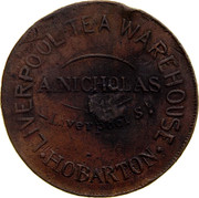 Australia 1 Penny ND KM# Tn183 Private Token issues LIVERPOOL TEA WAREHOUSE HOBARTON A. NICHOLAS LIVERPOOL ST. coin obverse
