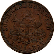 Australia 1 Penny ND KM# Tn212 Private Token issues SOUTHWARD & SUMPTON BALLARAT coin reverse
