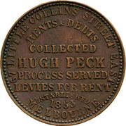 Australia 1 Penny ND KM# Tn189 Private Token issues 67 LITTLE COLLINS STREET EAST/ RENTS, DEBTS COLLECTED/ HUGH PECK/ PROCESS SERVED/ LEVIES FOR RENT/ ESTABLISHED/ 1853/ MELBOURNE coin reverse