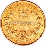 Australia 1 Sovereign Sovereign 1855 KM# 2 SYDNEY MINT AUSTRALIA ONE SOVEREIGN coin reverse