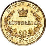 Australia 1 Sovereign Sovereign 1857 (sy) KM# 4 SYDNEY MINT AUSTRALIA ONE SOVEREIGN coin reverse