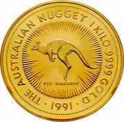 Australia 10,000 Dollars (The Australian Kangaroo) KM# 152 THE AUSTRALIAN NUGGET 1 KILO 9999 GOLD 1991 RED KANGAROO coin reverse