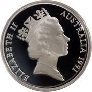 Australia 10 Cents Lyrebird 1991 Proof KM# 81a ELIZABETH II AUSTRALIA 1991 RDM coin obverse