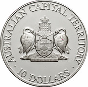 Australia 10 Dollars (Australian Capital Territory) KM# 210 AUSTRALIAN CAPITAL TERRITORY 10 DOLLARS FOR THE QUEEN, THE LAW, AND THE PEOPLE coin reverse
