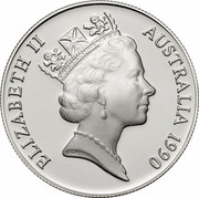Australia 10 Dollars Cockatoo 1990 KM# 136 ELIZABETH II AUSTRALIA 1990 RDM coin obverse