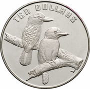 Australia 10 Dollars Kookaburra 1989 KM# 133 10 DOLLARS HH coin reverse