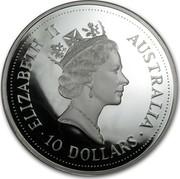 Australia 10 Dollars (Kookaburra) KM# 228 ELIZABETH II AUSTRALIA 10 DOLLARS coin obverse