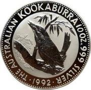 Australia 10 Dollars (Kookaburra) KM# 228 THE AUSTRALIAN KOOKABURRA 10 OZ. 999 SILVER 1992 coin reverse