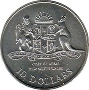 Australia 10 Dollars New South Wales 1987 KM# 93 COAT OF ARMS NEW SOUTH WALES - 10 DOLLARS ORTA RECENS QUAM PURA NITES coin reverse