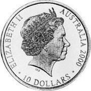 Australia 10 Dollars Paralympics 2000 KM# 518 ELIZABETH II AUSTRALIA 2000 10 DOLLARS IRB coin obverse