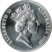 Australia 10 Dollars Queensland 1989 KM# 114 ELIZABETH II AUSTRALIA 1989 RDM coin obverse