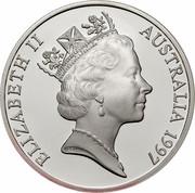Australia 10 Dollars Red-tailed Black-Cockatoo 1997 KM# 367.1 ELIZABETH II AUSTRALIA 1997 RDM coin obverse