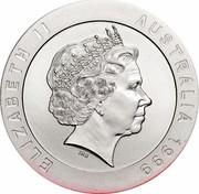 Australia 10 Dollars Snowy Mountains 'The Dam' 1999 KM# 415 ELIZABETH II AUSTRALIA 1999 IRB coin obverse