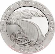 Australia 10 Dollars Snowy Mountains 'The Dam' 1999 KM# 415 THE SNOWY MOUNTAINS SCHEME 10 DOLLARS coin reverse