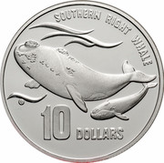Australia 10 Dollars Southern Right Whale 1996 KM# 314 SOUTHERN RIGHT WHALE 10 DOLLARS coin reverse