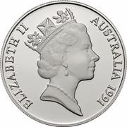 Australia 10 Dollars (Tasmania) KM# 153 ELIZABETH II AUSTRALIA 1991 RDM coin obverse