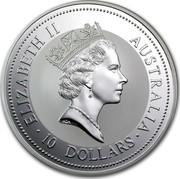 Australia 10 Dollars The Australian Kookaburra 1997 KM# 494 ELIZABETH II AUSTRALIA 10 DOLLARS RDM coin obverse