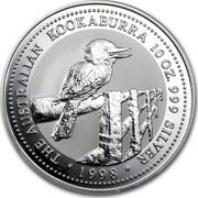 Australia 10 Dollars The Australian Kookaburra 1997 KM# 494 THE AUSTRALIAN KOOKABURRA 10 OZ. 999 SILVER 1998 coin reverse
