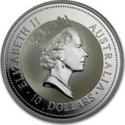 Australia 10 Dollars (The Australian Kookaburra) KM# 270 ELIZABETH II AUSTRALIA 10 DOLLARS RDM coin obverse