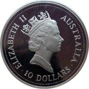 Australia 10 Dollars (The Australian Kookaburra) KM# 180 ELIZABETH II AUSTRALIA 10 DOLLARS RDM coin obverse