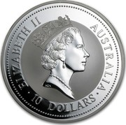 Australia 10 Dollars (The Australian Kookaburra) KM# 177 ELIZABETH II AUSTRALIA 10 DOLLARS RDM coin obverse