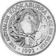 Australia 10 Dollars (The Australian Kookaburra) KM# 177 THE AUSTRALIAN KOOKABURRA 10 OZ. 999 SILVER 1992 P coin reverse