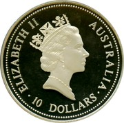 Australia 10 Dollars The Australian Kookaburra (Eagle Privy) 1995 Proof. USA Gold Eagle privy mark KM# 291 ELIZABETH II AUSTRALIA 10 DOLLARS RDM coin obverse
