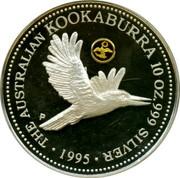Australia 10 Dollars The Australian Kookaburra (Eagle Privy) 1995 Proof. USA Gold Eagle privy mark KM# 291 THE AUSTRALIAN KOOKABURRA 10 OZ. 999 SILVER 1995 P coin reverse