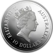 Australia 10 Dollars (The Australian Kookaburra (Eagle Privy)) KM# 231 ELIZABETH II AUSTRALIA 10 DOLLARS RDM coin obverse