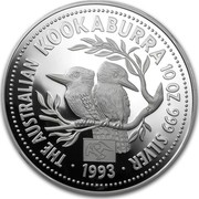 Australia 10 Dollars (The Australian Kookaburra (Eagle Privy)) KM# 231 THE AUSTRALIAN KOOKABURRA 10 OZ. 999 SILVER 1993 P coin reverse