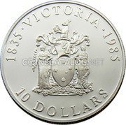 Australia 10 Dollars Victoria 1985 KM# 85 1835 VICTORIA 1985 PEACE AND PROSPERITY 10 DOLLARS coin reverse