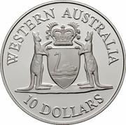 Australia 10 Dollars (Western Australia) KM# 137 WESTERN AUSTRALIA 10 DOLLARS coin reverse