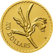 Australia 100 Dollars Kangaroo Paw Flower 1997 KM# 384 100 DOLLARS HH coin reverse