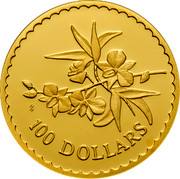 Australia 100 Dollars Orchid 2000 KM# 512 100 DOLLARS HH coin reverse