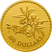 Australia 100 Dollars Orchid 2000 KM# 512a 100 DOLLARS HH coin reverse