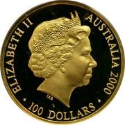 Australia 100 Dollars Sydney 2000 2000 KM# 521 ELIZABETH II AUSTRALIA 2000 100 DOLLARS IRB coin obverse