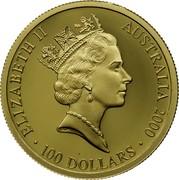 Australia 100 Dollars Sydney Olympics 2000 2000 KM# 383 ELIZABETH II AUSTRALIA 2000 100 DOLLARS IRB (RDM) coin obverse