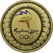 Australia 100 Dollars Sydney Olympics 2000 2000 KM# 383 SYDNEY 2000 ™© P coin reverse