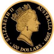 Australia 100 Dollars Sydney Olympics Dedication 2000 KM# 373 ELIZABETH II AUSTRALIA 2000 100 DOLLARS RDM coin obverse