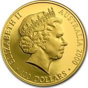 Australia 100 Dollars Sydney Olympics Dedication 2000 KM# 442 ELIZABETH II AUSTRALIA 2000 100 DOLLARS IRB coin obverse
