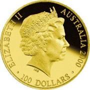 Australia 100 Dollars Sydney Olympics Preparation - Shot Put Coaching 2000 KM# 443 ELIZABETH II AUSTRALIA 2000 100 DOLLARS IRB coin obverse